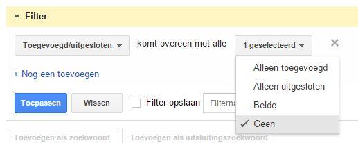 Filter zoektermen rapport