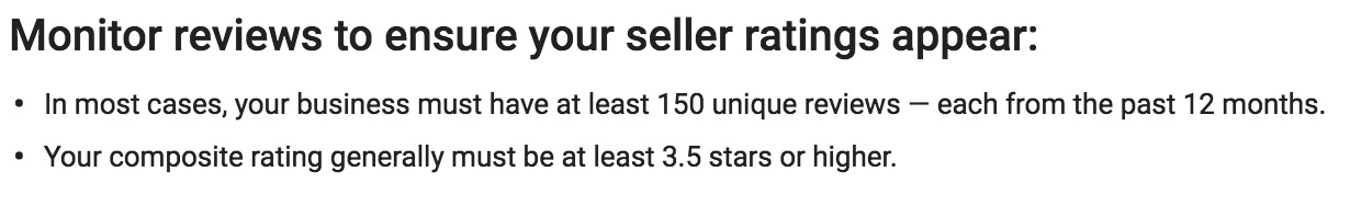 AdWords Seller Ratings - 150 reviews minimum
